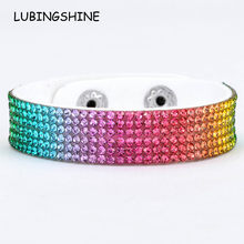 Leather Multilayer Rhinestones Wide Bracelets&Bangles Women Girls Handmade Charms Crystal Bracelet Wristband Party Jewelry Gift(China)