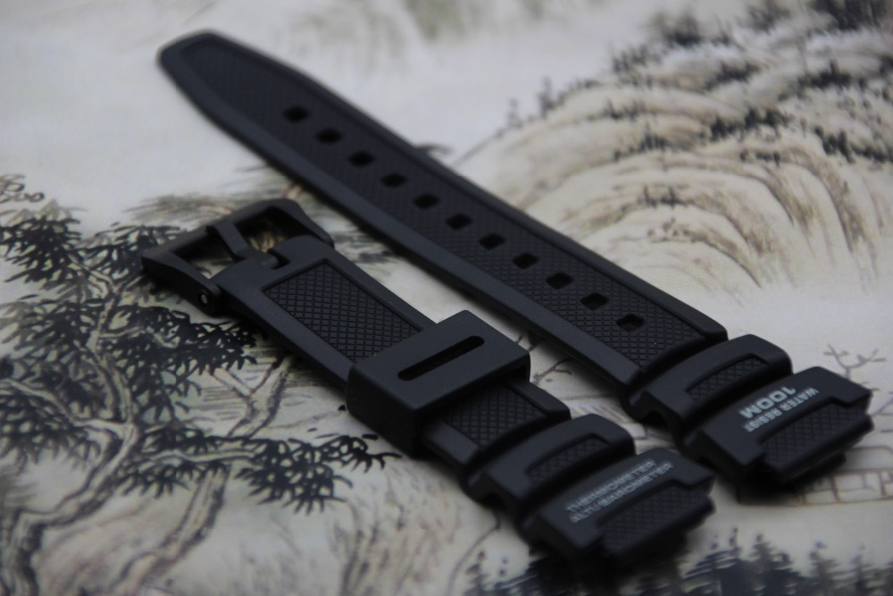 ON SALE Original Watchband black silicone rubber bracelet for Casio SGW-300h watches accessories часы casio collection sgw 300h 1a black