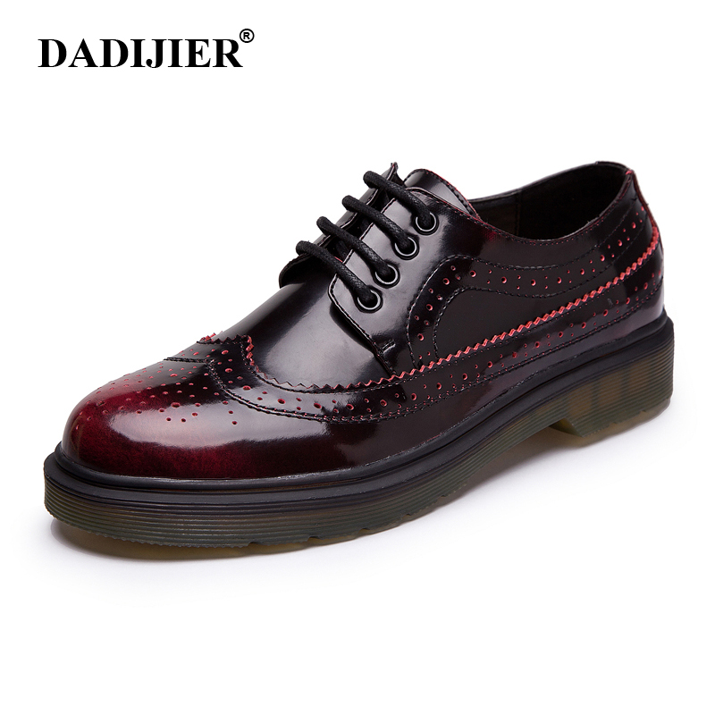 DADIJIER Women Genuine Leather Shoes Brogue style Breathable Casual Fashion Classic Woman leather shoes ST180-in Women's Flats from Shoes    1