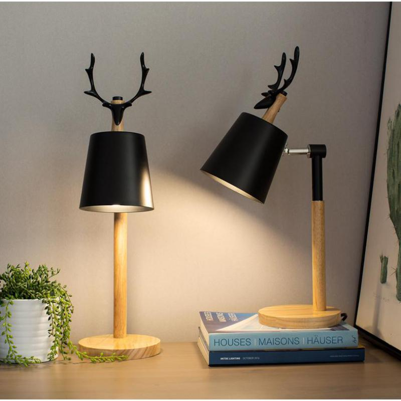 Student black Deer wood Table desk Lamp study Led Wood floor Table Light American Christmas buckhorn Reading Desk Light lamparas