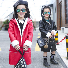 Children's Autumn Spring Winter PU Leather Coats Kids Girls Cotton Long Jacket Solid Color Warm Wax Tench Coat Height 110-160cm