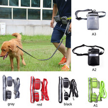 Pet Dogs Elastic Running Leash Dog Hands Free Leads Dog-Collar Reflective Strip Adjustable Waist Belt Sets Accessories