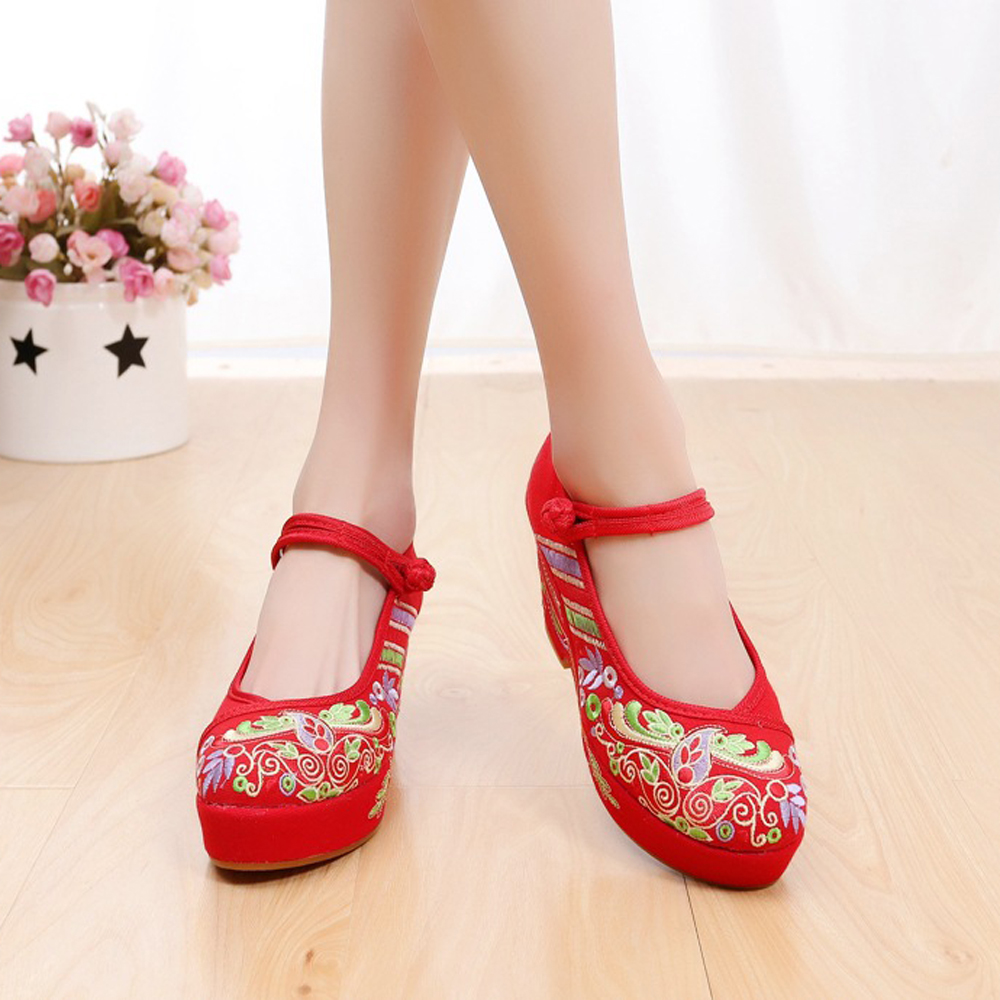 Flowers Embroidered Women Cotton Fabric High Heels Ankle Strap Ladies  Casual Comfort Canvas Pump Shoes Chinese Wedding Shoes-in Women s Pumps  from Shoes on ... 3d790090463d
