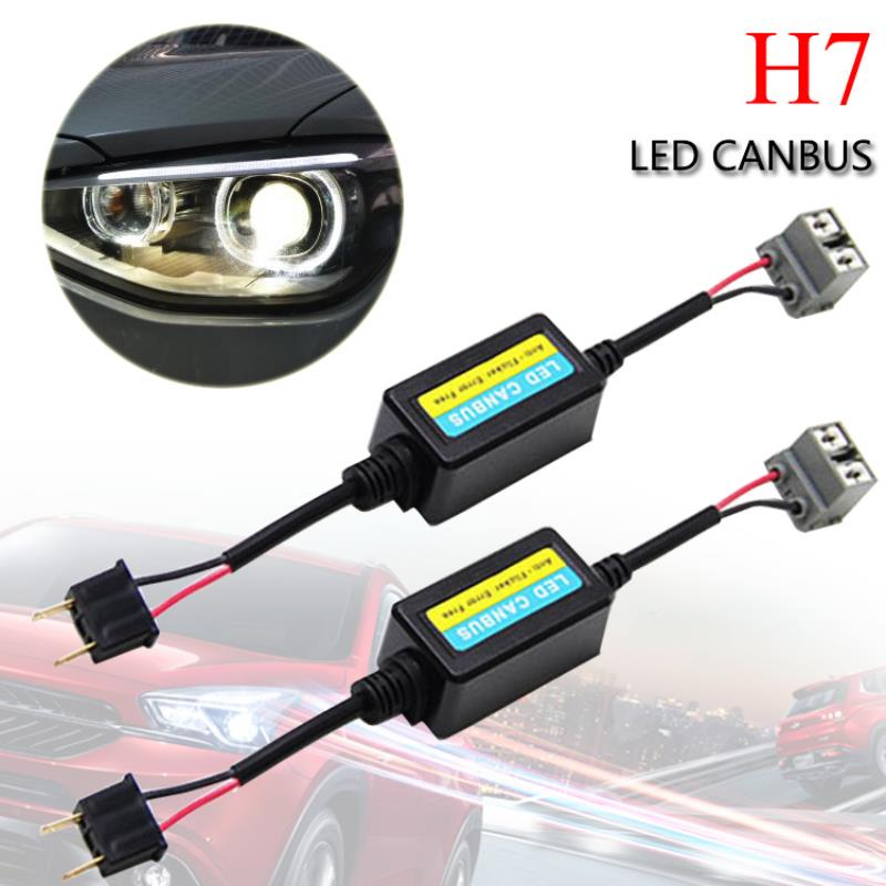 High Quality 2pcs H7 Car LED HID Decoder Canbus Headlight Fog Light DRL Error Free Resistor Warning Canceller c7 hid can bus car xenon light error warning canceller decoder capacitor canbus capacitors computer decoder