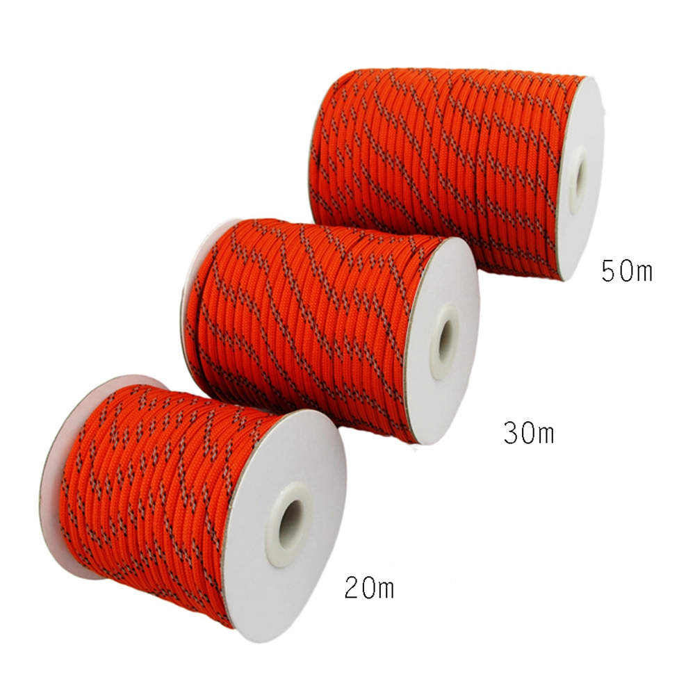 20m 30m 50m 5mm Nylon Reflective Cord Tent Guyline Tent Ropes Paracord Outdoor Camping Kits