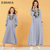 Casual Muslim Family Matching Clothes Autumn 2019 Arabian Mother Daughter Kids T Shirt Long Dress Plus Size Flower Embroidery