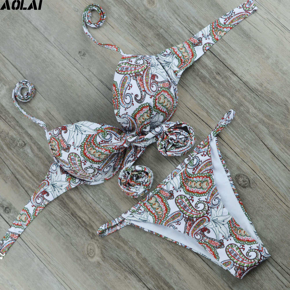 Floral Bikini 2017 Bohe Swimwear Women Push Up Swimsuit Sexy Halter Biquini Thong Bathing Suit  Maillot De Bain White Beachwear nordic magic bean pendant lights glass lampshade g4 lustre led lamp art deco lamparas colgantes hanglamp suspension luminaire