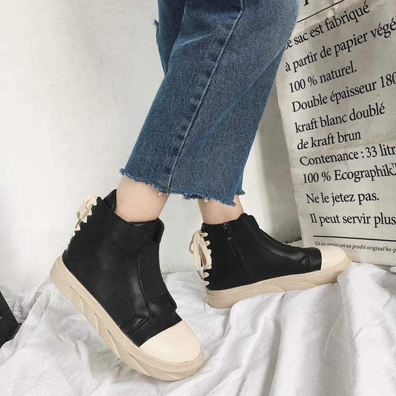COOTELILI Autumn Women Ankle Boots For Women Girls Boots Fashion Autumn Brand Sneakers Black White Rubber Shoes Women 35-39 (4)