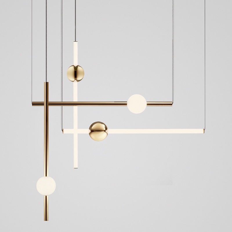 Postmodern Loft Golden Led Chandelier Creative Long Stick Noble Living Room Hotel Hall Hanging Light Fixtures