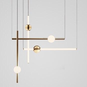 โมเดิร์นโมเดิร์น Loft Golden Led Creative Stick Noble Living Room โรงแรม Hall แขวนโคมไฟจัดส่งฟรี