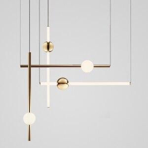 Image 1 - Postmodern Loft Golden Led Chandelier Creative Long Stick Ball Living Room Hotel Bedside Hall Hanging Light Fixtures