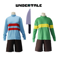 Halloween costumes Game Undertale Chara Frisk cosplay costumes green blue Sportswear knife included full set