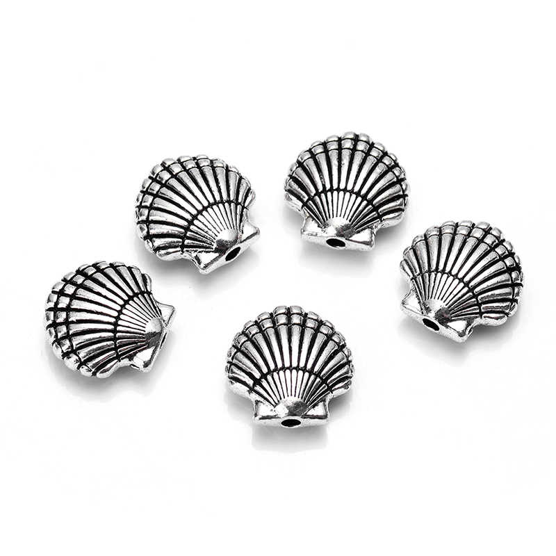 10pcs/lot new arrival antique retro zinc alloy silver plated sea shell charm strand spacer beads for bracelet DIY jewelry making
