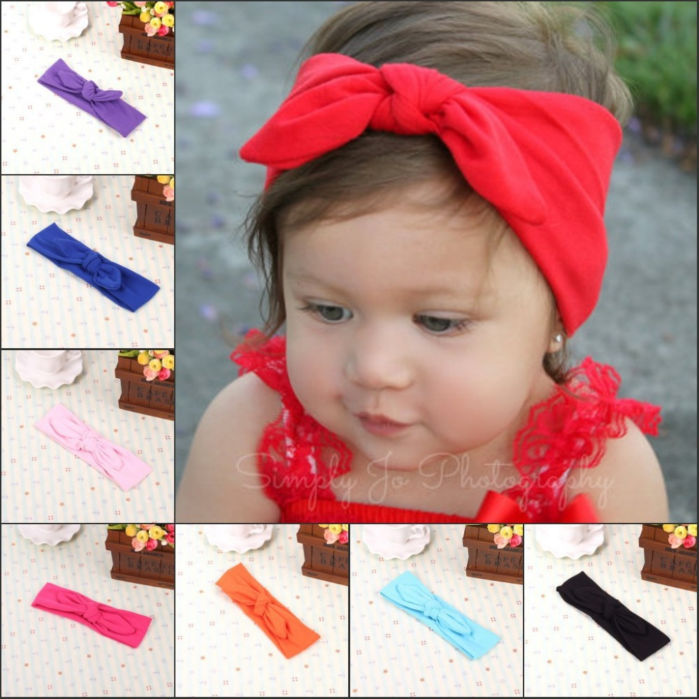 2015 Retail big bow head wrap lovely bowknot headbands cotton headwear girl hair bow mix