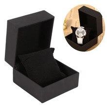 w Black PU Leather-based Watch Current Present Show Case Bracelet Bangle Jewellery Storage Field Organizador For Leather-based Watch Present Case