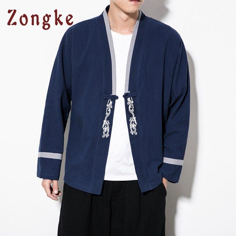 a2a45353d Zongke Chinese Kimono Cardigan Jacket Men Embroidery Streetwear Japanese  Kimono Men Cardigan Mens Kimono Jacket Coat