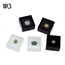 صندوق عرض مجوهرات فضفاض مرصع بالأحجار الكريمة للبيع بالجملة مصنوع من الأحجار الكريمة صندوق تخزين مصنوع من البلاستيك الأبيض والأسود