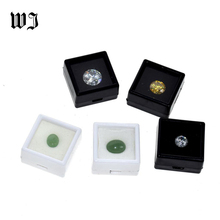 Wholesale Gemstones Diamonds Box Loose Diamond Jewelry Display Case Holder Gem Show Storage Container Box Plastic White & Black