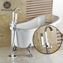 New Chrome Floor Mount Clawfoot Bath Tub Filler Faucet Handshower Free Standing Single Handle