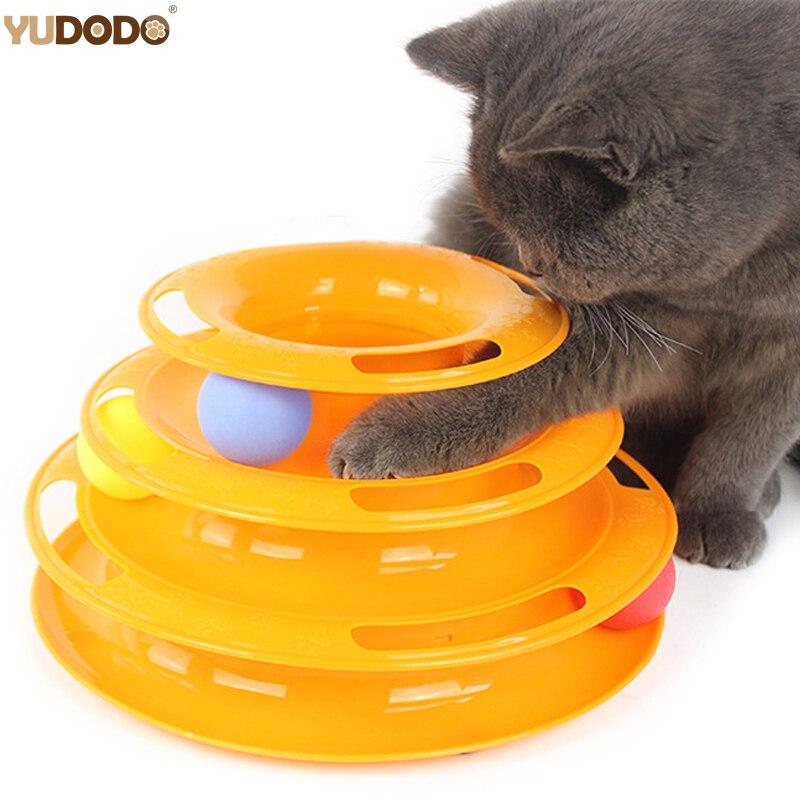 3 Schichten Lustige Katze Spielzeug Verrückt Ball Disk Anti-slip Interaktive Unterhaltung Platte Dreibettzimmer Plattenspieler Spielen Disc Kleine Pet spielzeug Für Kätzchen