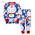 P764, Doraemon, 6 jogos/lote, Crianças meninos pijamas, 100% algodão, De manga comprida sleepwear / roupas para 2-7a