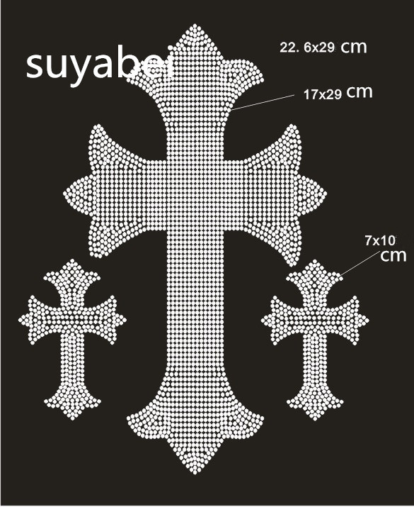 2pc/lot Cross hot fix rhinestone applique hot fix rhinestone transfer motifs designs iron on transfer patches for shirt