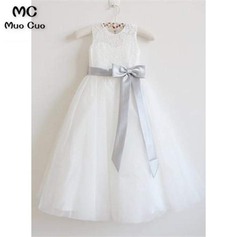 Lovely 2018 A-Line Gown first communion   dresses   for   girls   Lace Grey Ribbon kids evening gowns   flower     girl     dresses   for weddings