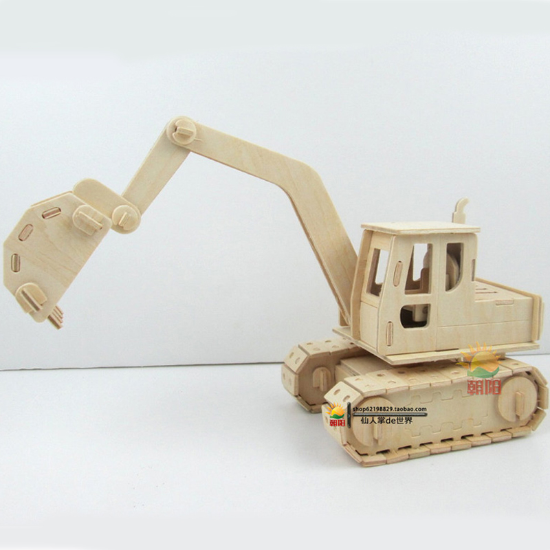 Wooden 3 D puzzle children's educational toys more than 6 years old boy wooden simulation model of excavator puzzles