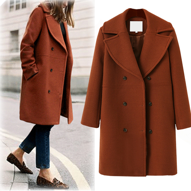 Plus Size Casual Women Woolen Coat 2019 Autumn Winter Fashion Double Breasted Thick Trench Coat Female
