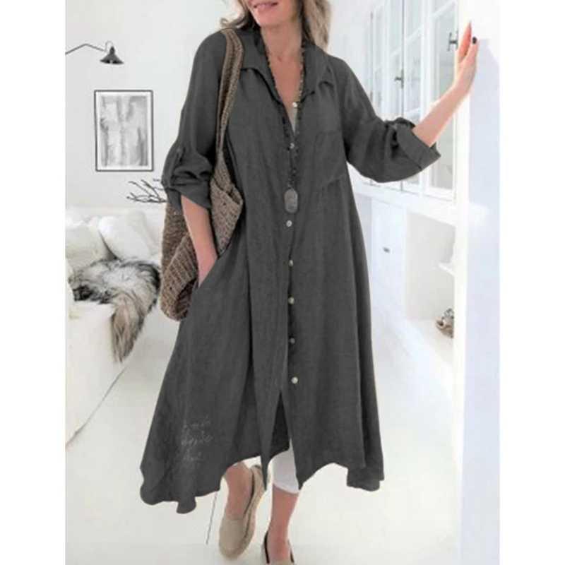 新 2019 女性のカーディガンヴィンテージリネンドレス長袖ボタンプリーツシャツドレスカジュアル Vestidos ファムプラスサイズ 5XL