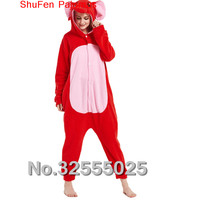 MengShuFen Fleece Animal Pajamas Red Elephant Costume Onesies For Adult Couples Halloween Pijamas Ty19