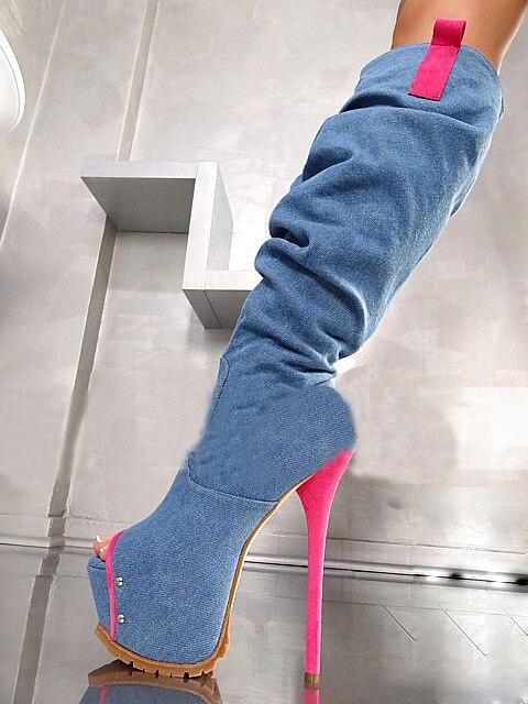 Zapatos mujer sxey blue high heel knee high peep toe super high thin heels platform women blue denim boots stilettos party shoes
