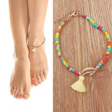 seaside holiday  anklet chain for women girls fashion shell colored beaded bracelet on the leg short small tassel foot jewelry