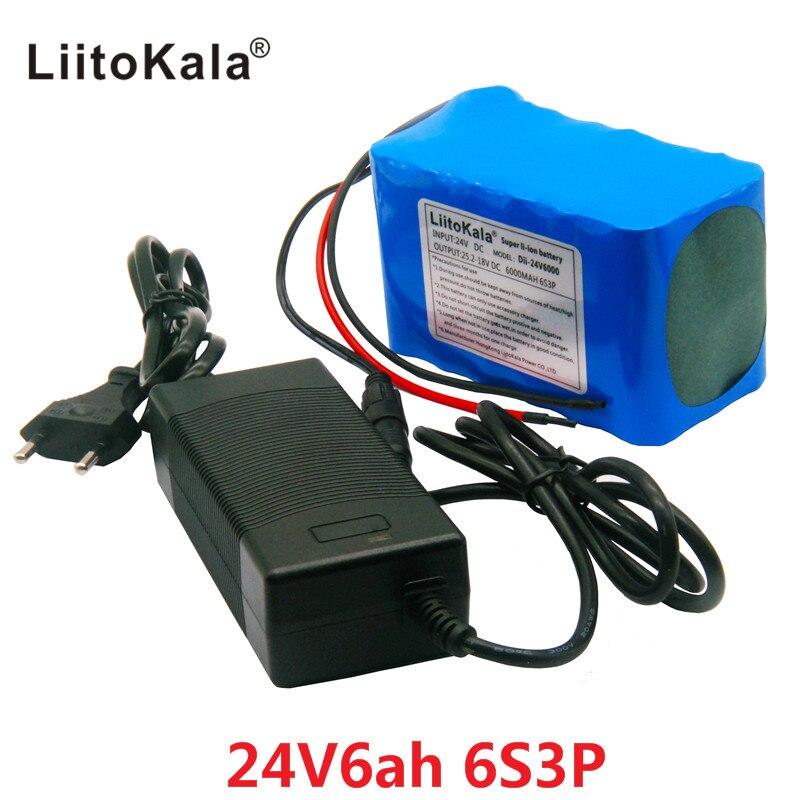 HK LiitoKala 24 V 6Ah 6S3P Batterie 25.2 V 18650 Batterie 6000 mAh Rechargeable Batterie Pour GPS Navigator/Voiture de golf/Vélo Électrique