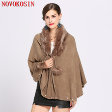 SC200 Faux Cashmere Thick Beads Solid White Coat Winter Fox Fur Neck Cardigan Poncho Warm 2018 Women Casual Loose Pashmina