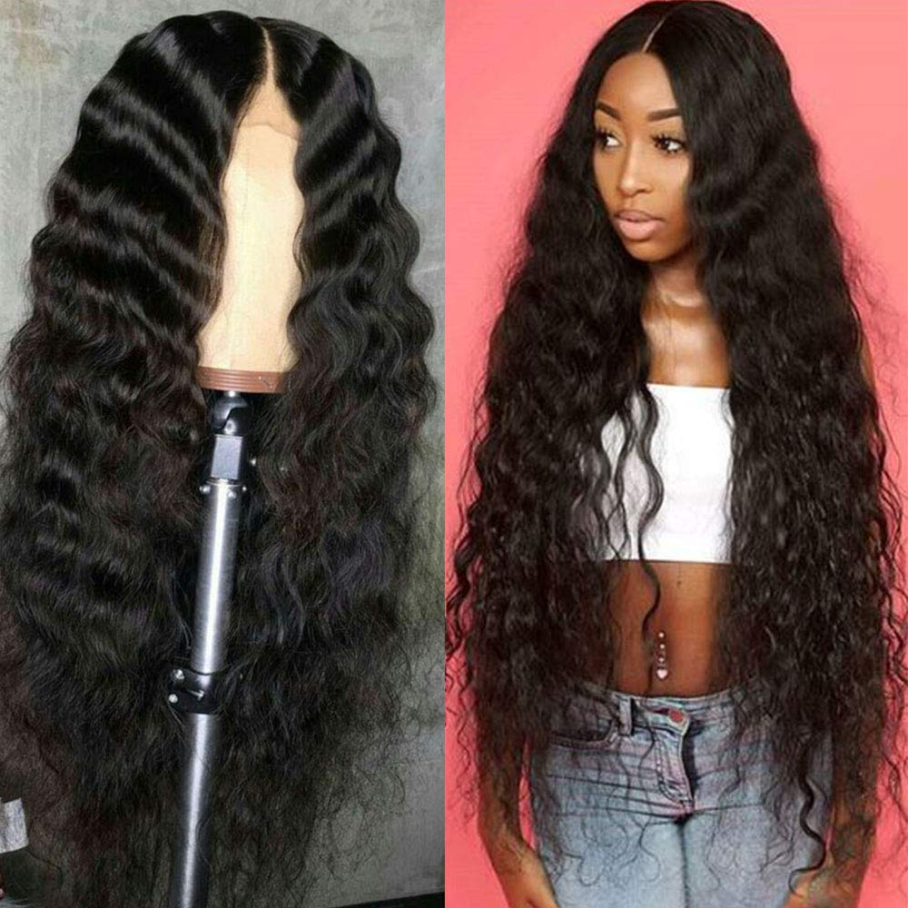 SimBeauty Long Deep Wave Lace Front Human Hair Wigs With Baby Hair Middle Part 130%-180% Density Pre Plucket Glueless For Women