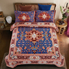 Bohemian Style Blue Vintage Mandala Floral Bedding Set Queen Size 4Pcs Bohe Totem Pillow Cases Bed Linen Flat Sheet Duvet Cover