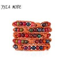 Fyla Mode High Quality Natural Fantasy Tourmaline Stones Weave Wrap Bracelet Leather Bracelet With Stones Bead Bracelet Handmade цена и фото