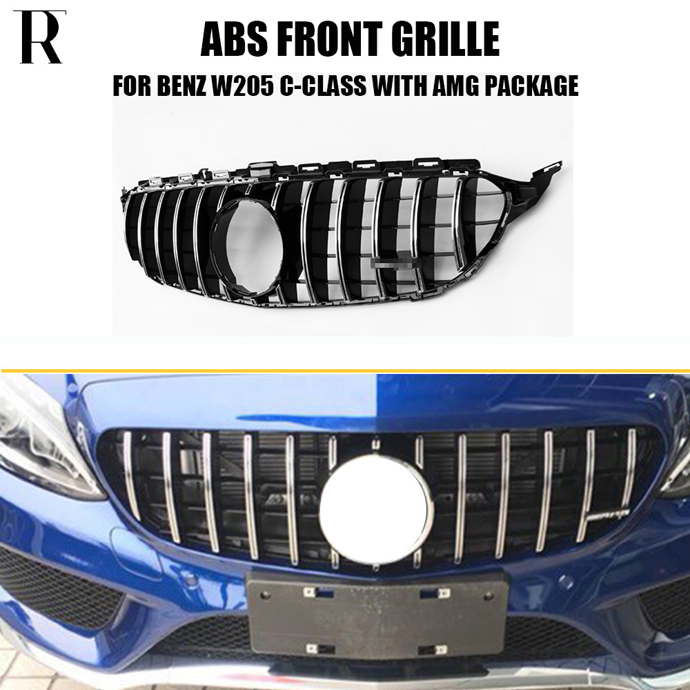 W205 GT Style ABS Silver Front Bumper Mesh Grill Grille for Benz W205 C205 S205 C180 C200 C300 C43 with AMG PACKAGE 15-18 grille