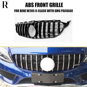 W205 styl GT ABS srebrny przedni zderzak z siatką Grille dla Benz W205 C205 S205 C180 C200 C300 C43 z pakietem AMG 15-18