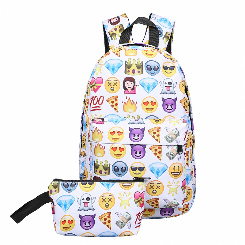 2Pcs Canvas Backpack Girls 3D Smile Face Printing Rucksacks For Teenage School Bags Travel Backpack Ladies Clutches