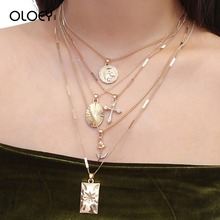 OLOEY Punk Style Necklaces Bohomian Womens Metal Pendants Necklace Sweater Chian Fashion Flower Cross Alloy Jewelry Gifts