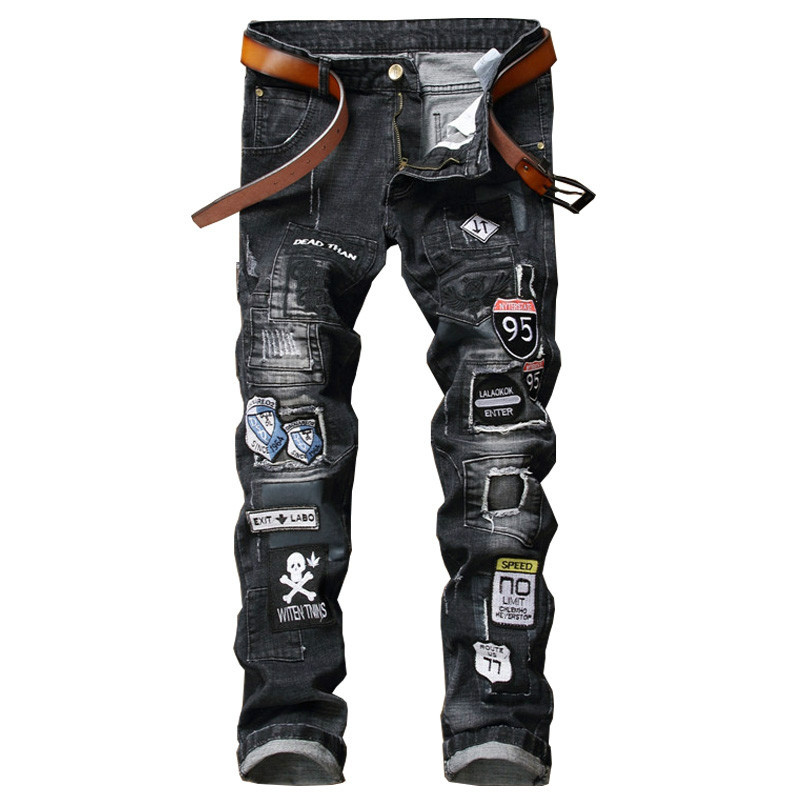 NEW Scratched Men Denim Jeans With Biker Patchwork Slim Fit Black Jeans Punk Rock Rap Washed Straight Men Ripped Pants Trousers personality patchwork jeans men ripped jeans fashion brand scratched biker jeans hole denim straight slim fit casual pants mb541