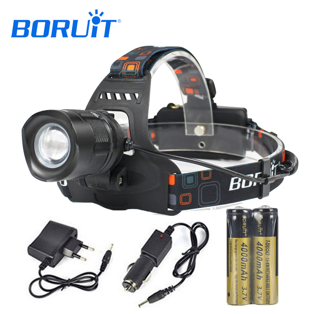 BORUIT XML L2 LED Headlight 5-Mode Zoomable Headlamp POWER BANK Head Torch Frontal Lantern Use 18650 Battery For Camping RJ-2157