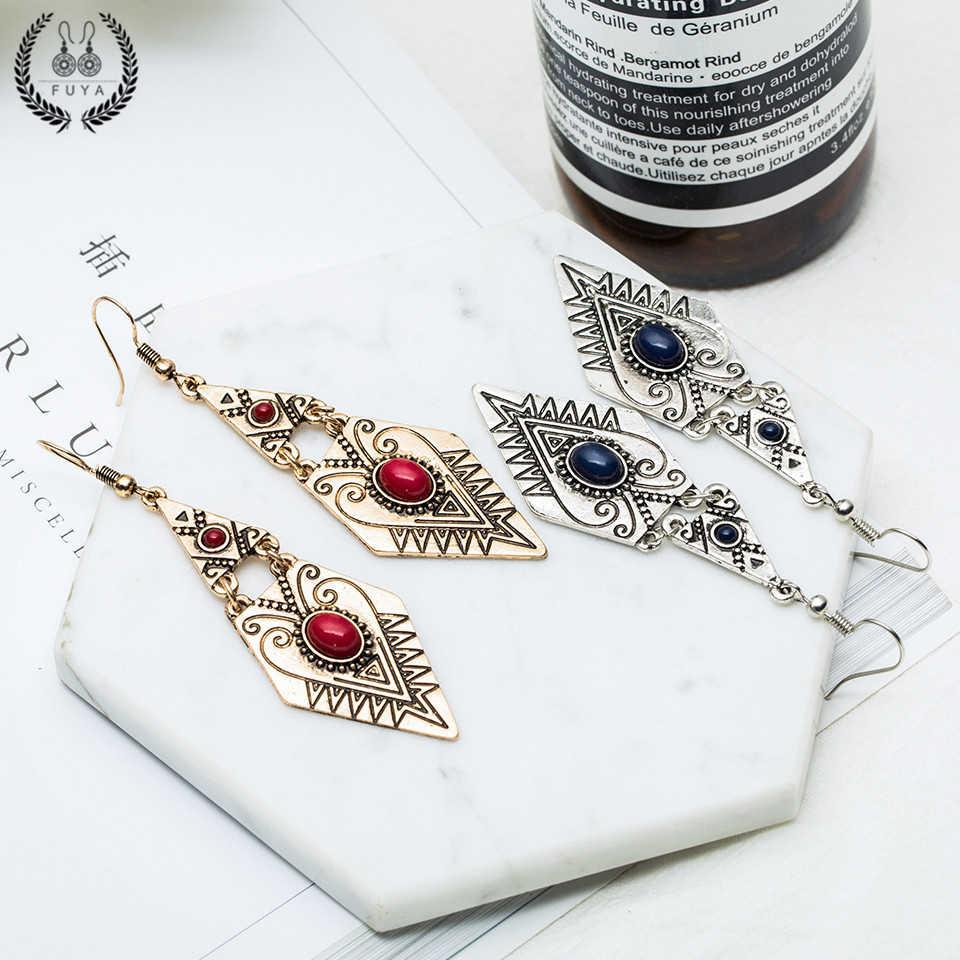 Vintage triangle geometric earrings for women Indian gold silver acrylic metal alloy pendant butterfly tassel earring jewelry