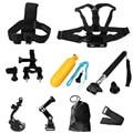 Yi 9 Em 1 Kit Gopro AEE Peito + cabeça Strap + Aperto flutuante + guiador Selim + Monopé + ventosa Para O Herói 4 3 + 3 2