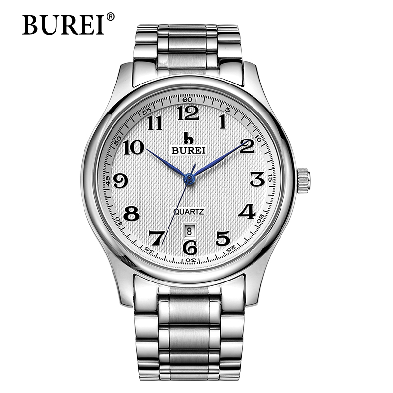 2016 direct selling burei men 39 s quartz wrist watches with white dial metal band male luxury for Watches direct