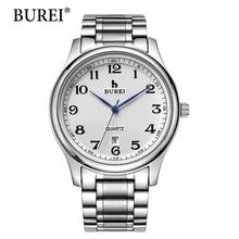 2016 Vente Directe BUREI Hommes de Montres À Quartz Avec Cadran Blanc Bande Métallique Mâle De Luxe Célèbre Marques Date Étanche horloge