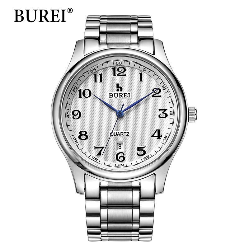 Prix pour 2016 Vente Directe BUREI Hommes de Montres À Quartz Avec Cadran Blanc Bande Métallique Mâle De Luxe Célèbre Marques Date Étanche horloge