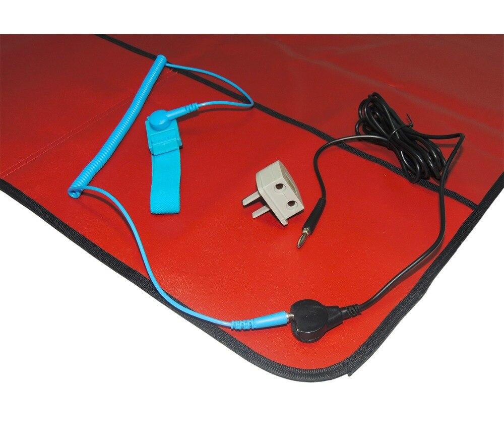 Free Shipping AIDACOM ESD Field Service Kits/Red ESD Mat + 1.8m Wrist Strap+2MGrounding Lead Kits+USA EBP Plug